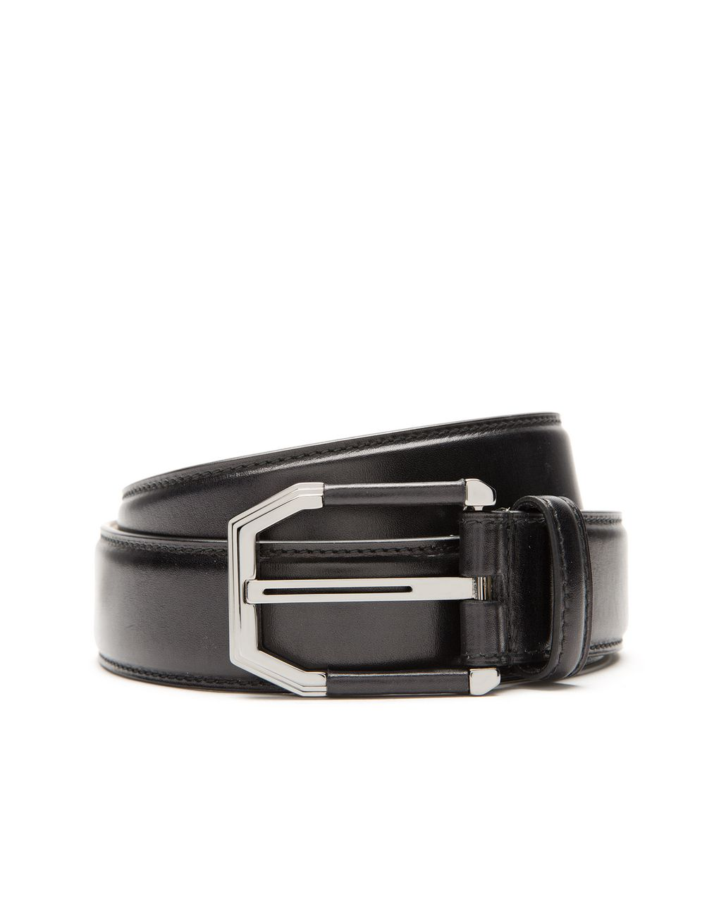 BRIONI Black Belt in Calfskin Leather with Leather Details on Buckle Belt U r