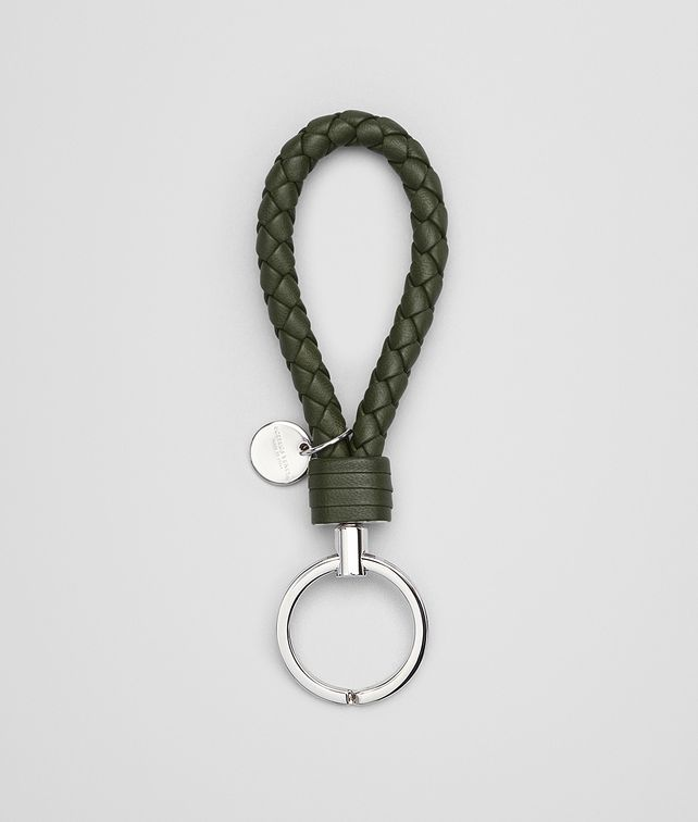 BOTTEGA VENETA KEY RING IN MOSS INTRECCIATO NAPPA Keyring or Bracelets E fp