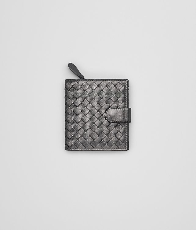 BOTTEGA VENETA MINI WALLET IN ARGENTO OSSIDATO NEW INTRECCIATO GROS GRAIN Mini Wallet or Coin Purse Woman fp
