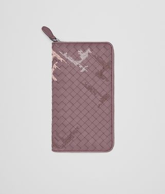 ZIP AROUND WALLET IN GLICINE EMBROIDERED INTRECCIATO NAPPA