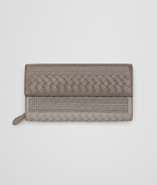 CONTINENTAL WALLET IN FUME' STEEL EMBROIDERED NAPPA, INTRECCIATO DETAILS