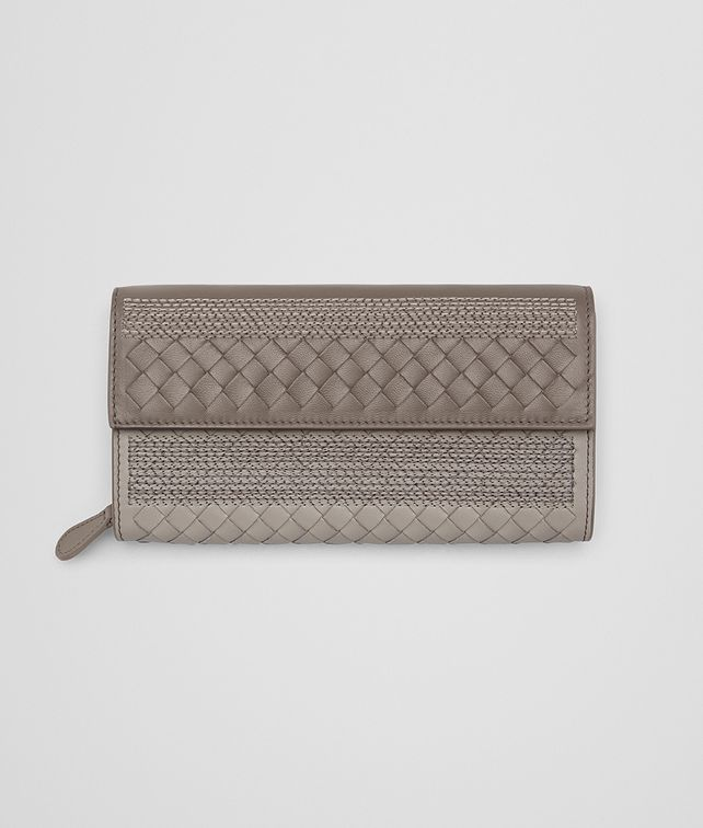 BOTTEGA VENETA CONTINENTAL WALLET IN FUME' STEEL EMBROIDERED NAPPA, INTRECCIATO DETAILS Continental Wallet Woman fp