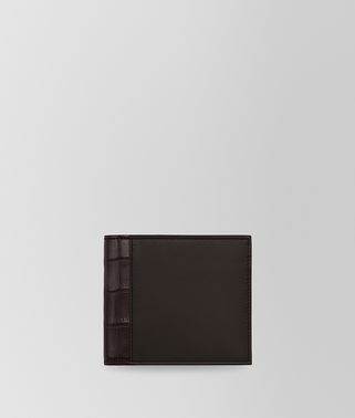 BI-FOLD WALLET IN ESPRESSO CALF AND EBANO CROCODILE