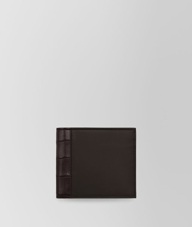 BOTTEGA VENETA BI-FOLD WALLET IN ESPRESSO CALF AND EBANO CROCODILE Bi-fold Wallet U fp