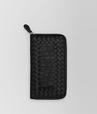 ZIP AROUND WALLET IN NERO CROCODILE AND INTRECCIATO NAPPA