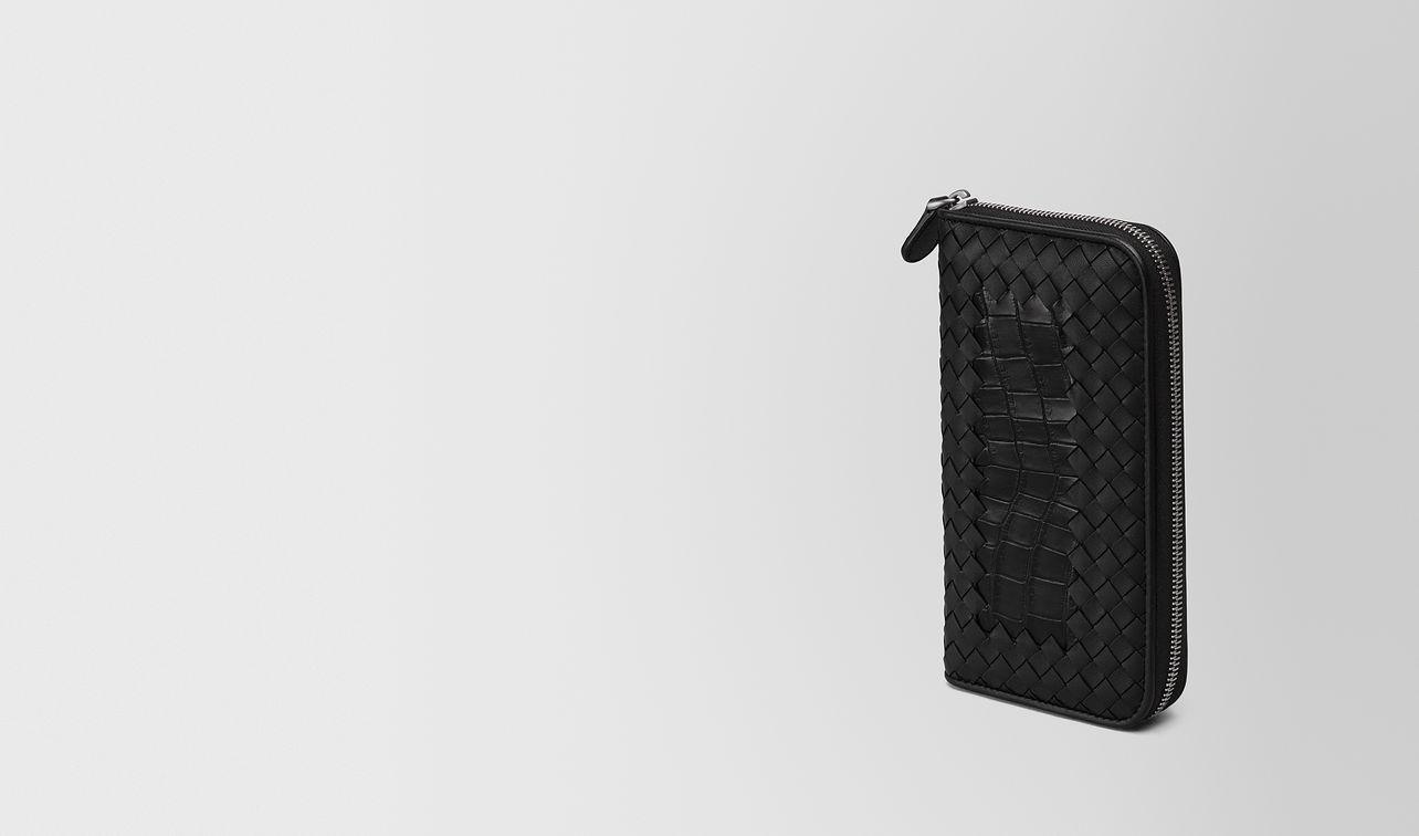 zip around wallet in nero crocodile and intrecciato nappa landing