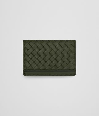 CARD CASE IN ARTICHOKE INTRECCIATO NAPPA LEATHER