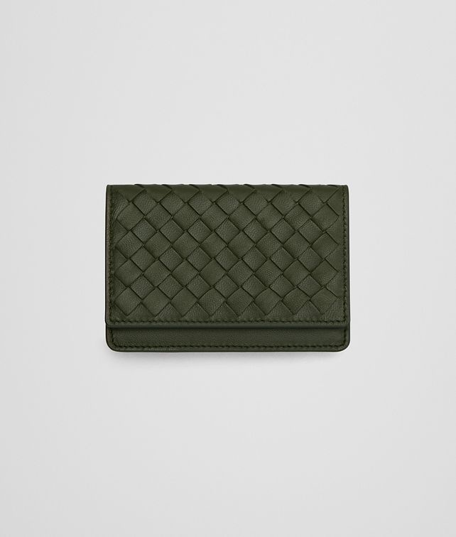 BOTTEGA VENETA CARD CASE IN ARTICHOKE INTRECCIATO NAPPA LEATHER Card Case or Coin Purse E fp