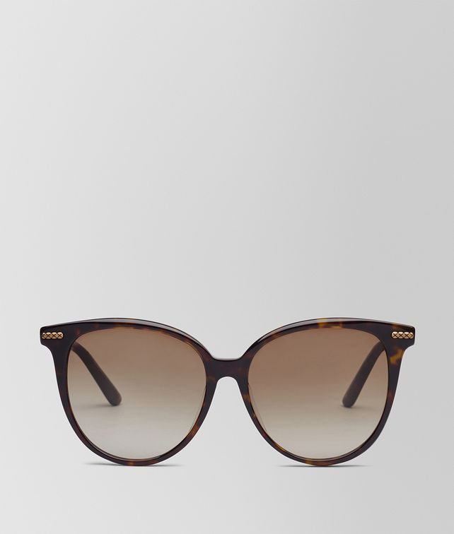 BOTTEGA VENETA SUNGLASSES IN SHINY DARK HAVANA ACETATE, GRADIENT BROWN LENS Sunglasses D fp