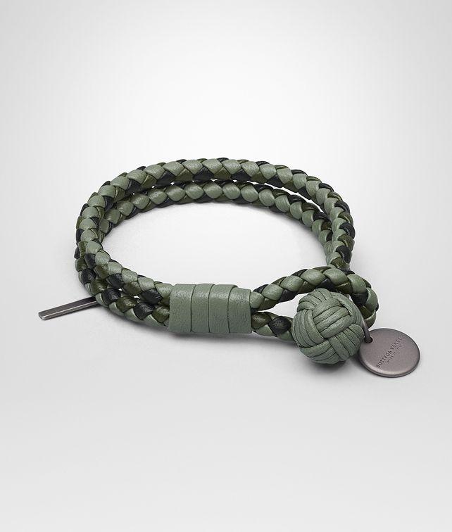 BOTTEGA VENETA BRACELET IN ARTICHOKE MOSS NERO INTRECCIATO NAPPA CLUB Keyring or Bracelets E fp