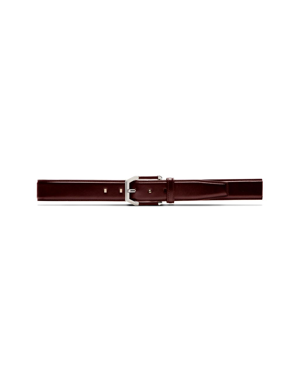 BRIONI Oxblood Belt in Calfskin Leather with Leather Details on Buckle Belt U f