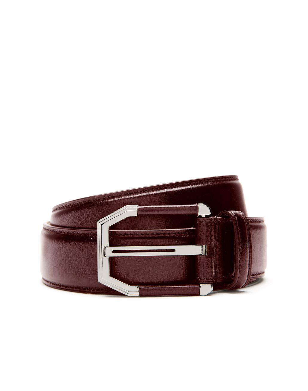 BRIONI Oxblood Belt in Calfskin Leather with Leather Details on Buckle Belt U r