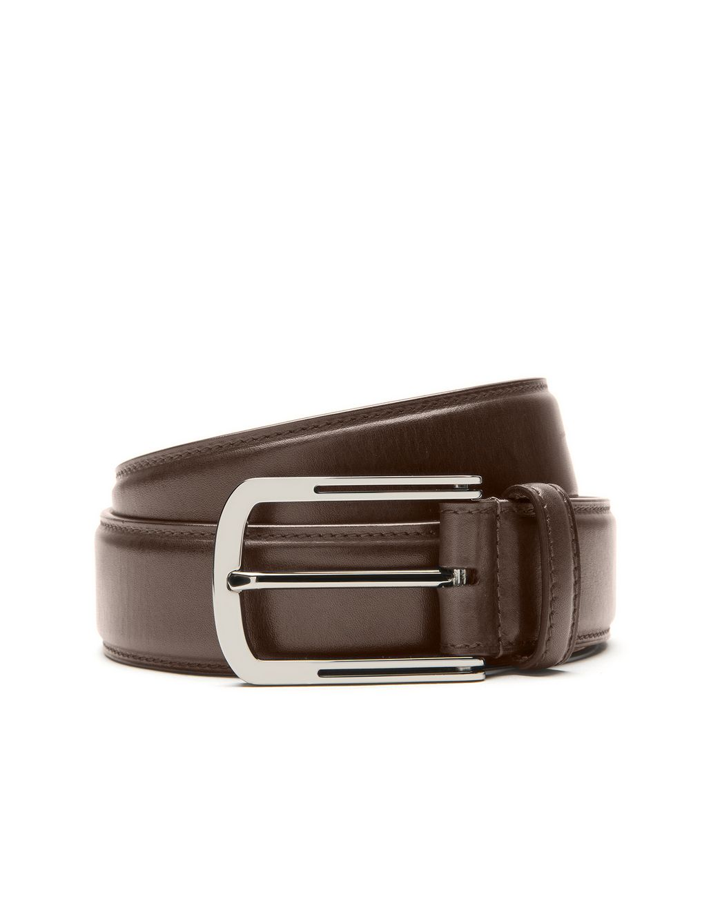 BRIONI Brown Belt in Calfskin Leather Belt Man r