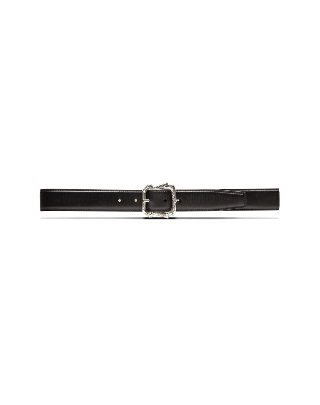 BRIONI Black Belt in Calfskin Leather with Filigree Buckle Belt Man f