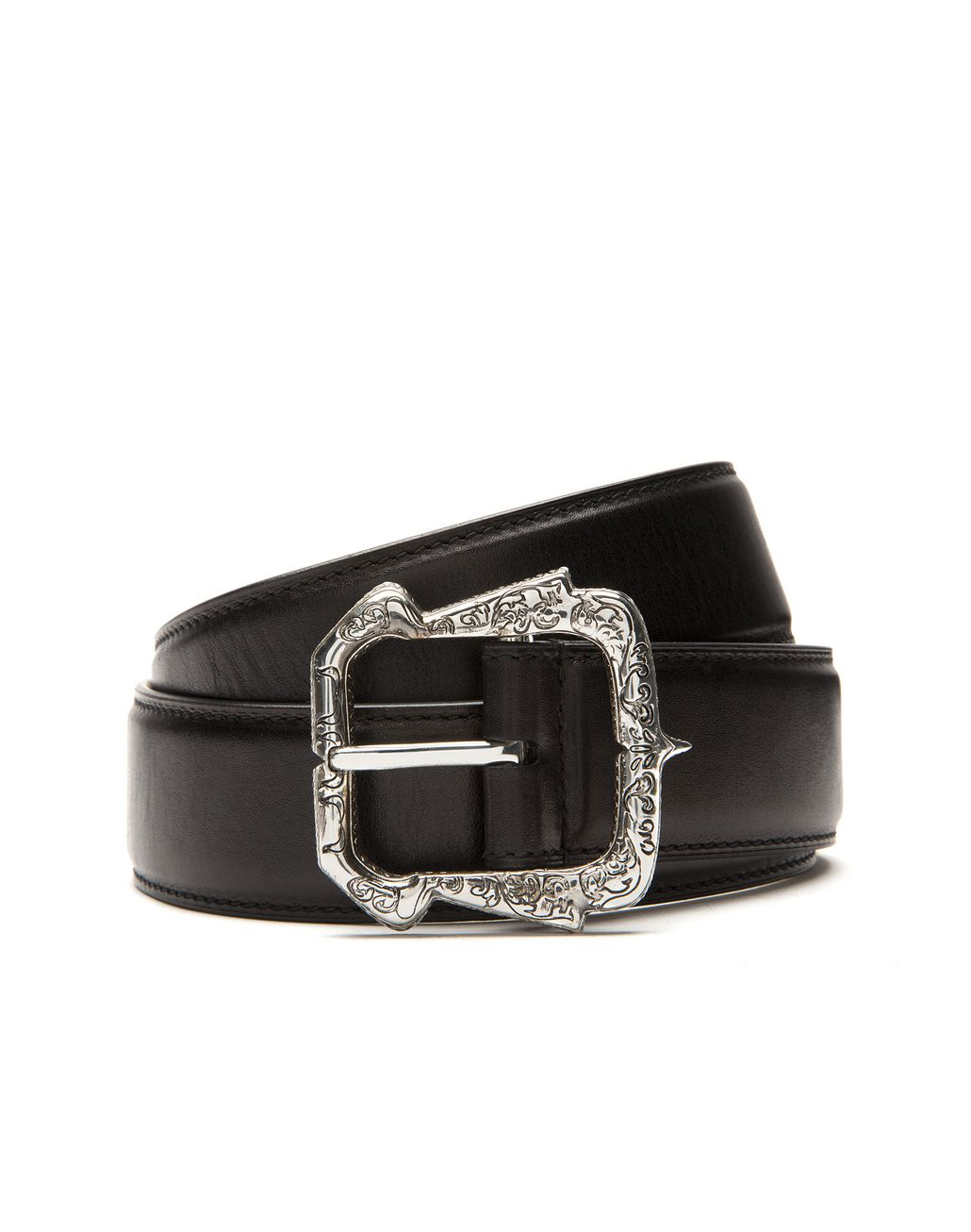 BRIONI Black Belt in Calfskin Leather with Filigree Buckle Belt U r