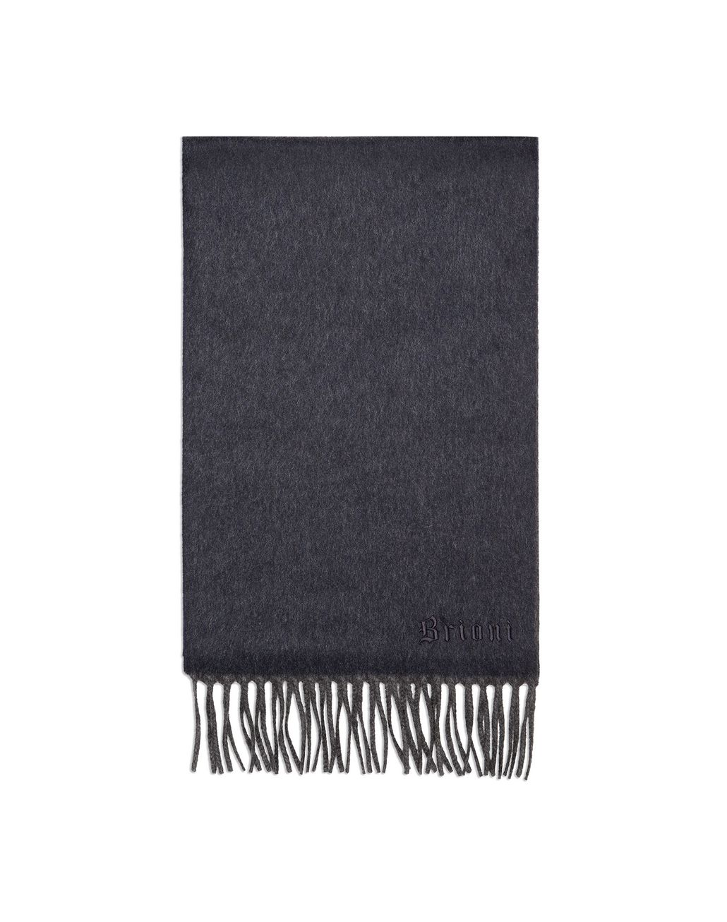 BRIONI Anthracite and Navy Blue Double Faced Cashmere Scarf Foulards & Scarves Man f