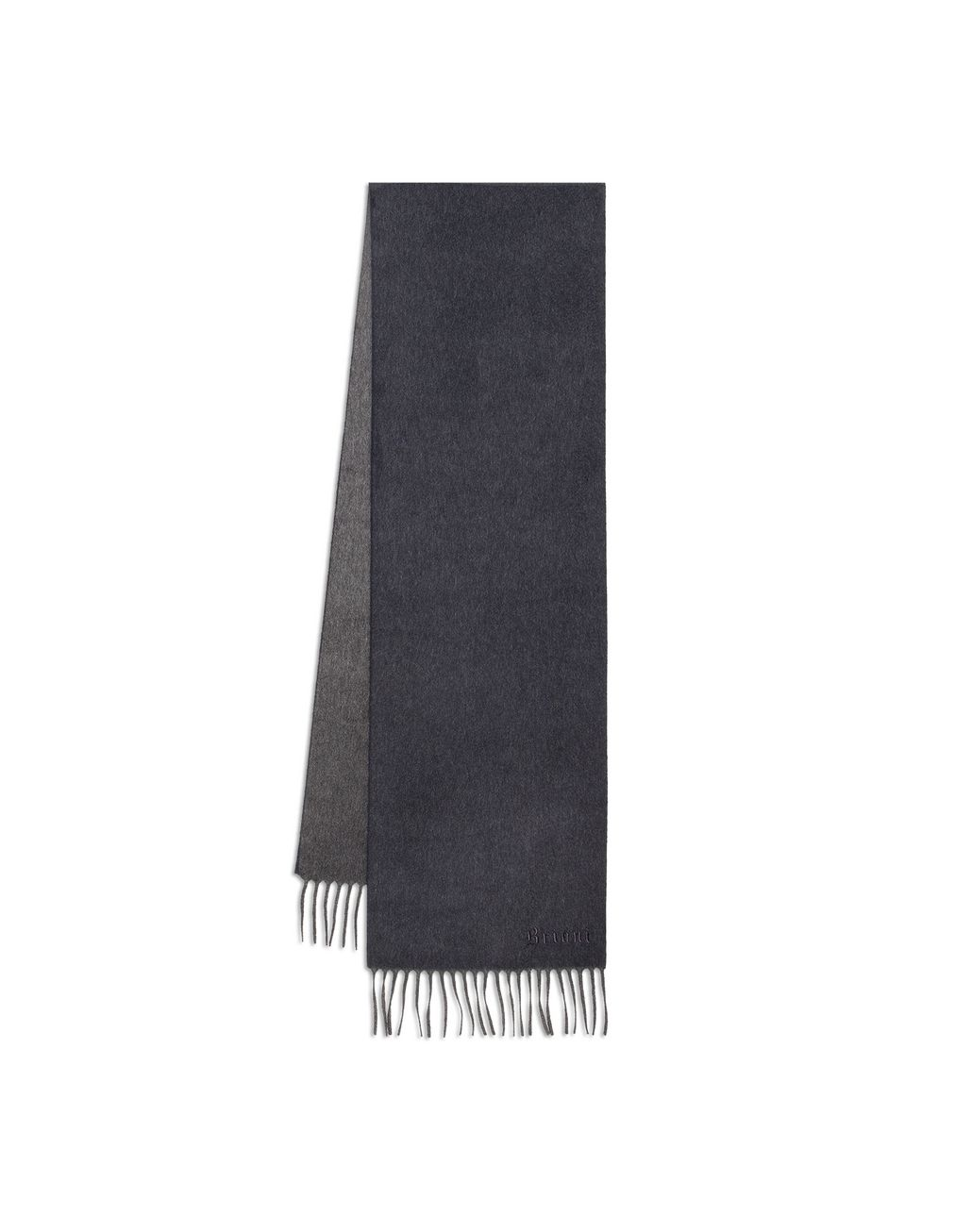 BRIONI Anthracite and Navy Blue Double Faced Cashmere Scarf Foulards & Scarves Man r