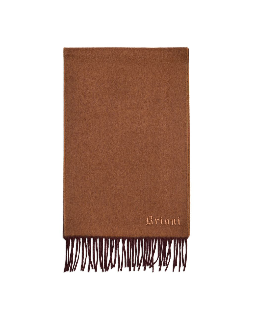 BRIONI Brown and Amaranth Double Faced Cashmere Scarf Foulards & Scarves Man f