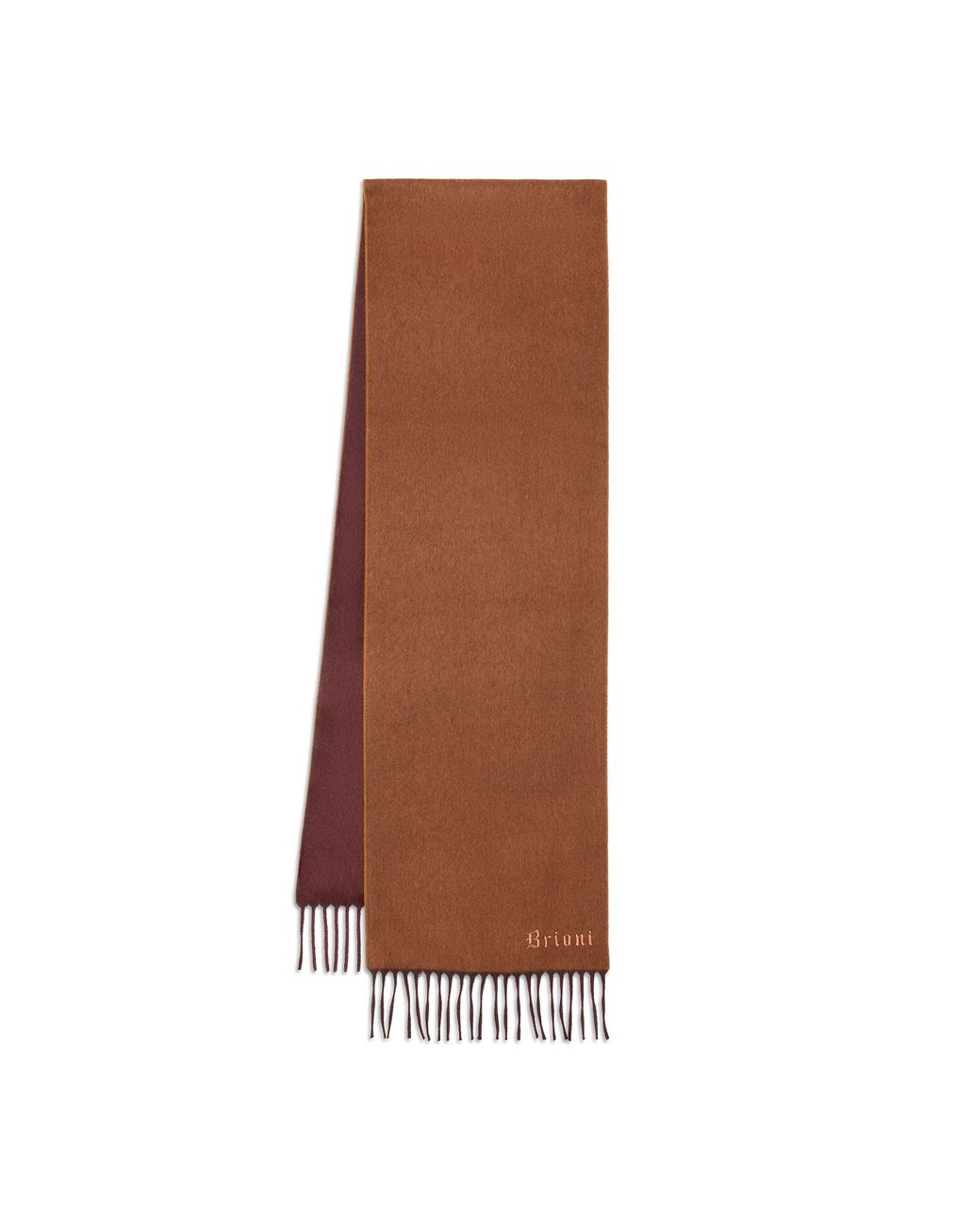 BRIONI Brown and Amaranth Double Faced Cashmere Scarf Foulards & Scarves [*** pickupInStoreShippingNotGuaranteed_info ***] r