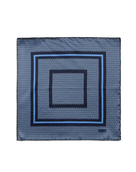 Navy Blue and Bluette Geometric Pocket Square