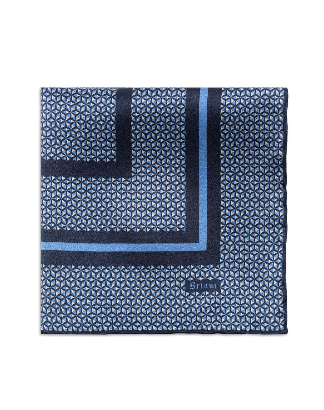 BRIONI Navy Blue and Bluette Geometric Pocket Square Pocket Square U d