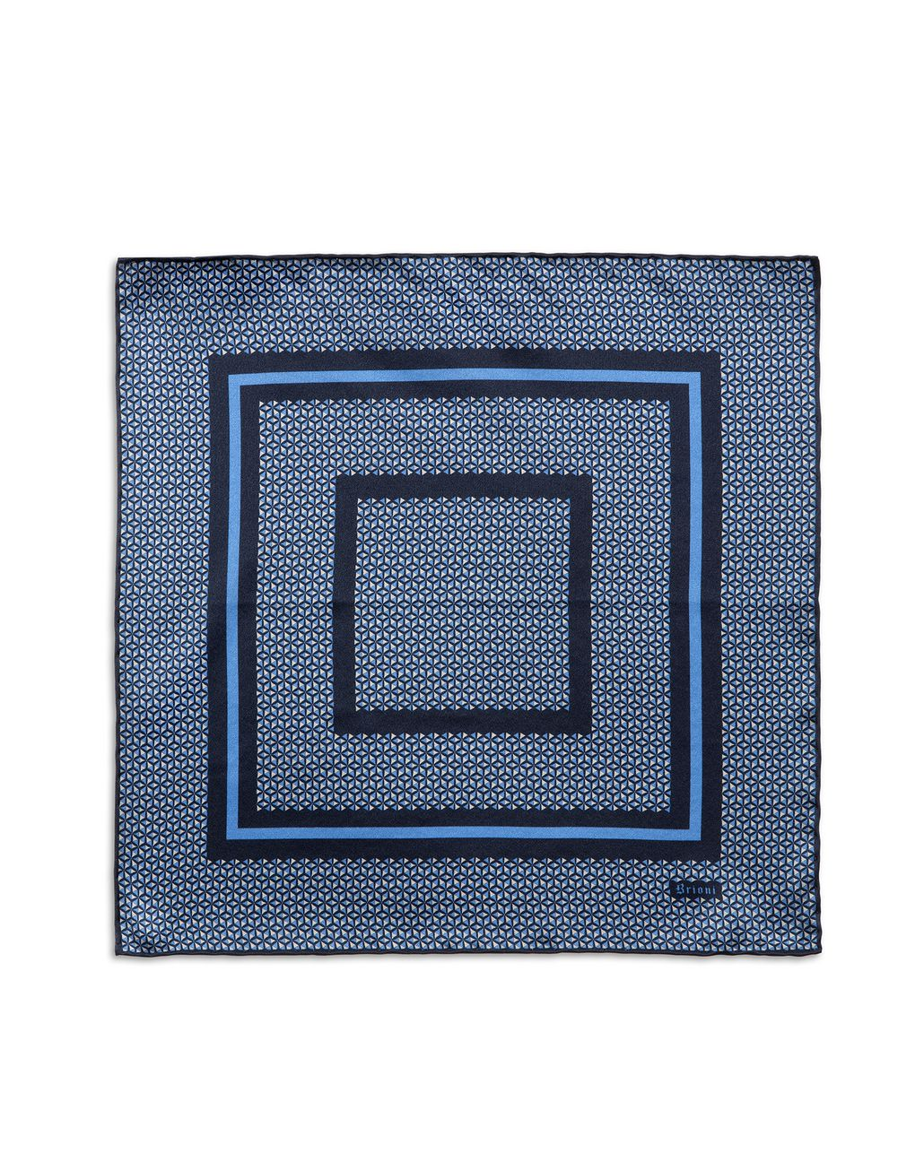 BRIONI Navy Blue and Bluette Geometric Pocket Square Pocket Square Man f