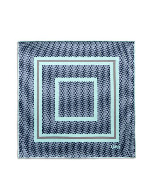 BRIONI Pocket Square U Bluette and Lead Geometric Pocket Square f