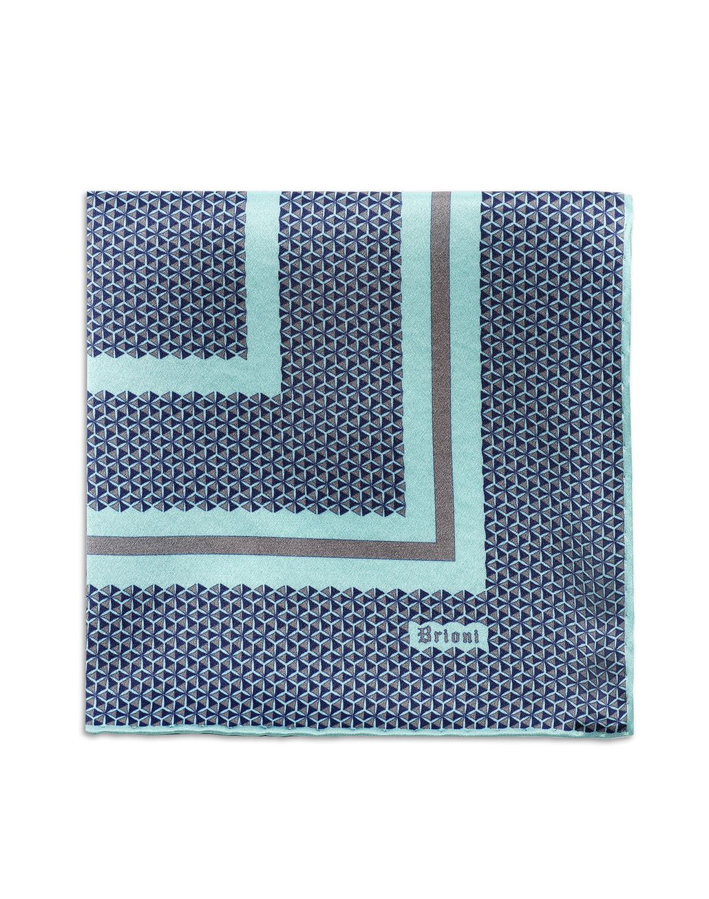 BRIONI Bluette and Lead Geometric Pocket Square Pocket Square U d