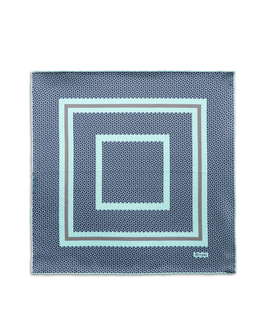 BRIONI Bluette and Lead Geometric Pocket Square Pocket Square [*** pickupInStoreShippingNotGuaranteed_info ***] f