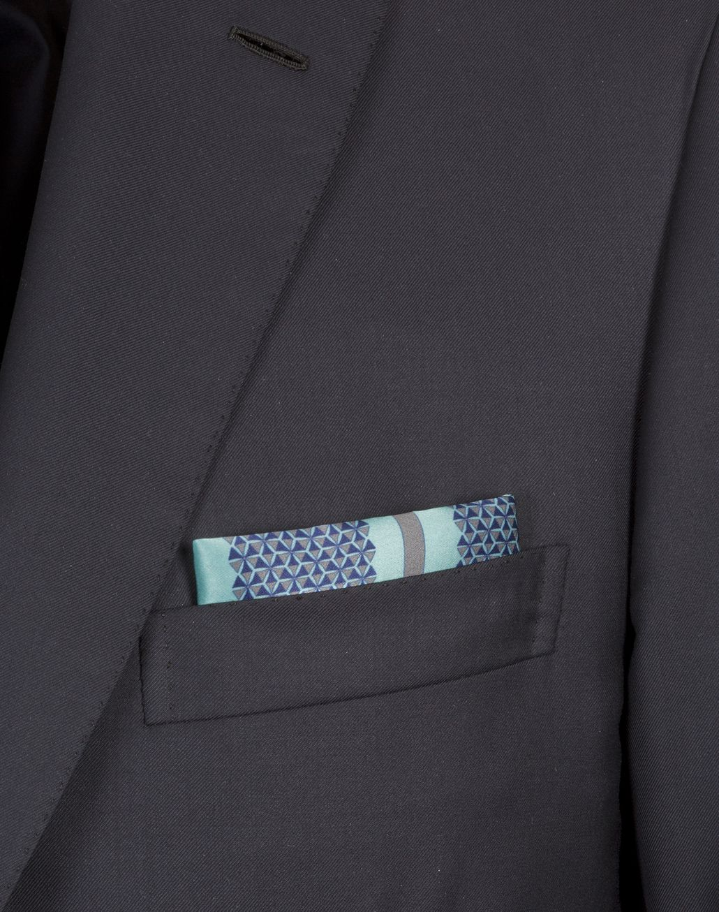 BRIONI Bluette and Lead Geometric Pocket Square Pocket Square [*** pickupInStoreShippingNotGuaranteed_info ***] r