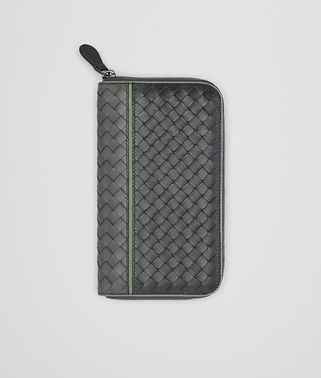 ZIP AROUND WALLET IN NEW LIGHT GREY ARDOISE ARTICHOKE INTRECCIATO NAPPA