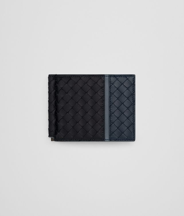 BOTTEGA VENETA BI-FOLD WALLET WITH MONEY CLIP IN TOURMALINE DENIM KRIM INTRECCIATO NAPPA Bi-fold Wallet Man fp