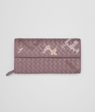 CONTINENTAL WALLET IN GLICINE EMBROIDERED INTRECCIATO NAPPA