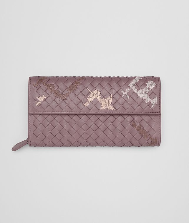 BOTTEGA VENETA CONTINENTAL WALLET IN GLICINE EMBROIDERED INTRECCIATO NAPPA Continental Wallet D fp