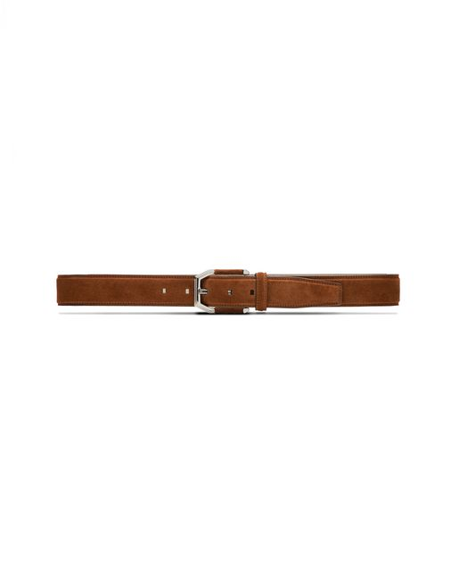 BRIONI Belt U Tobacco Brown Suede Belt with Suede Details on Buckle f