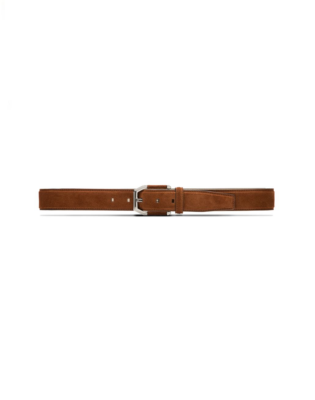 BRIONI Tobacco Brown Suede Belt with Suede Details on Buckle Belt U f