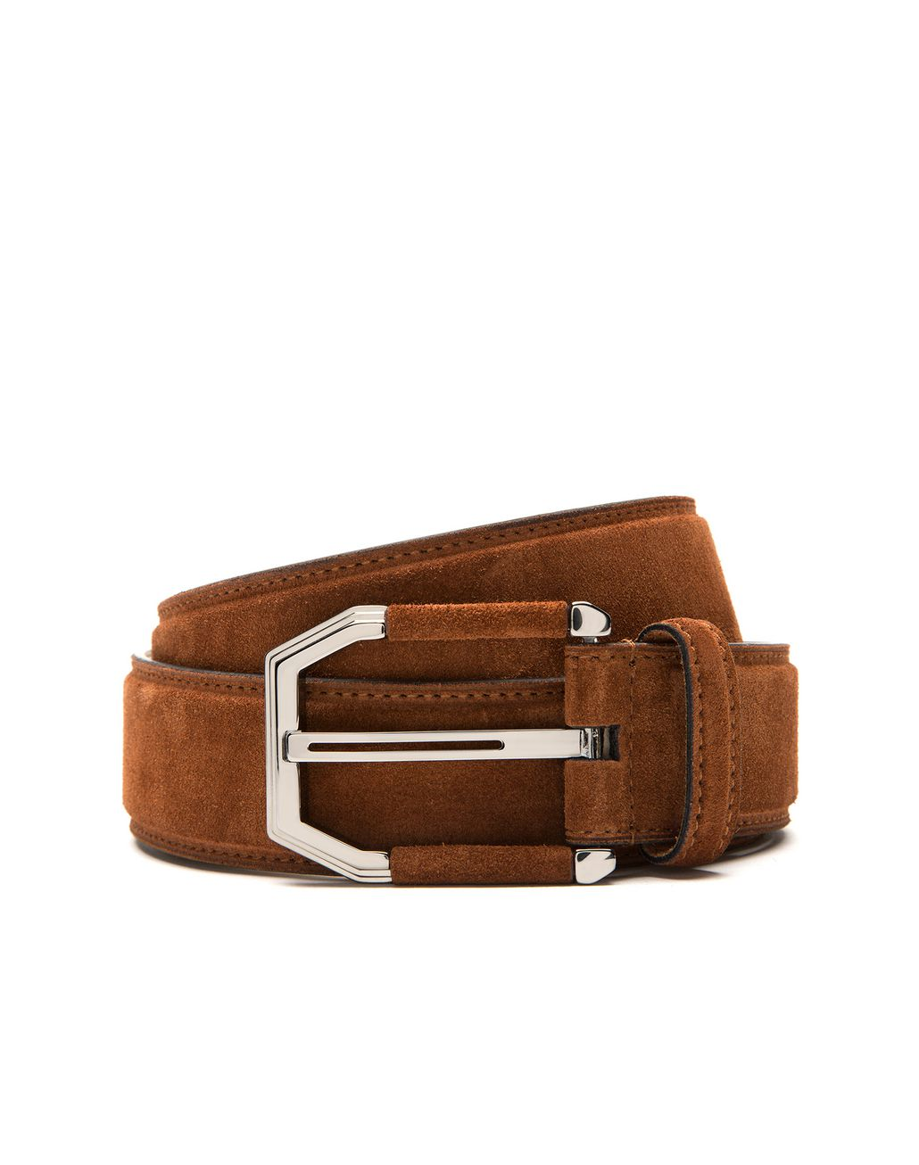 BRIONI Tobacco Brown Suede Belt with Suede Details on Buckle Belt Man r