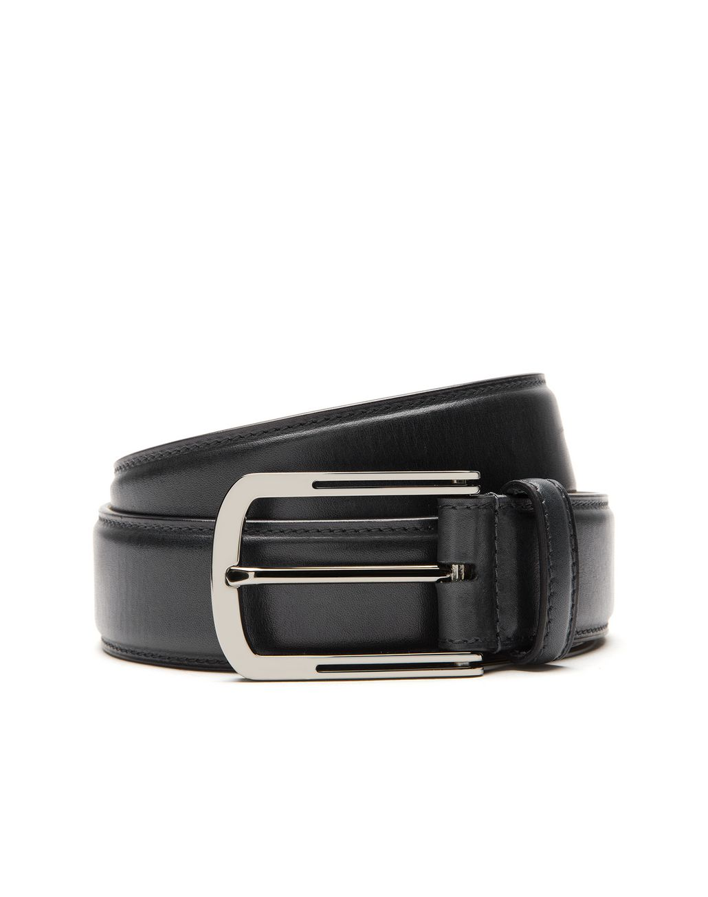 BRIONI Black Belt in Calfskin Leather Belt Man r