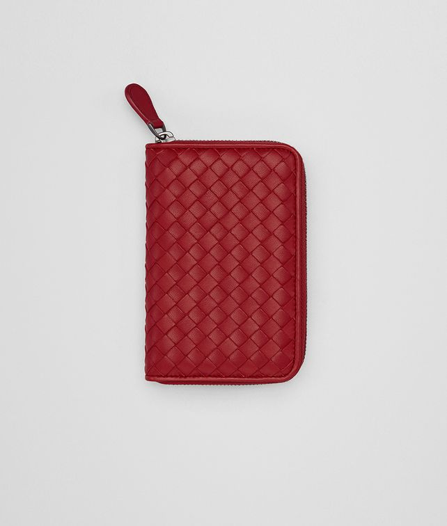 BOTTEGA VENETA ZIP-AROUND WALLET IN CHINA RED INTRECCIATO NAPPA LEATHER Small Wallet [*** pickupInStoreShipping_info ***] fp