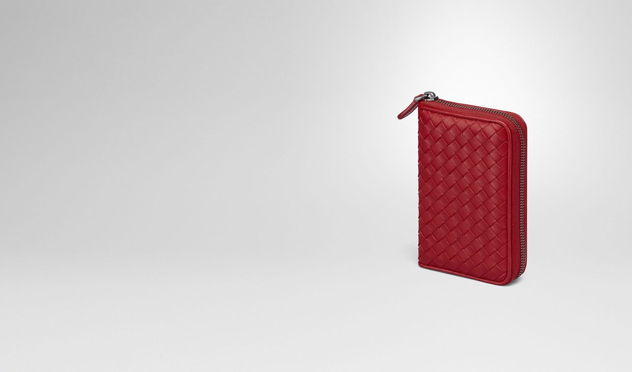 zip around wallet in china red intrecciato nappa landing