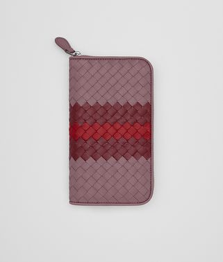 ZIP-AROUND WALLET IN GLICINE BAROLO CHINA RED INTRECCIATO NAPPA CLUB