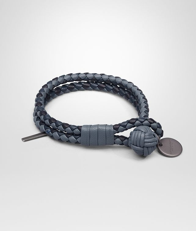 BOTTEGA VENETA BRACELET IN KRIM DENIM TOURMALINE INTRECCIATO NAPPA CLUB Keyring or Bracelets E fp
