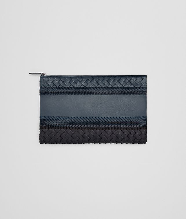 BOTTEGA VENETA MEDIUM DOCUMENT CASE IN DENIM TOURMALINE EMBROIDERED NAPPA, INTRECCIATO DETAIL Other Leather Accessory E fp
