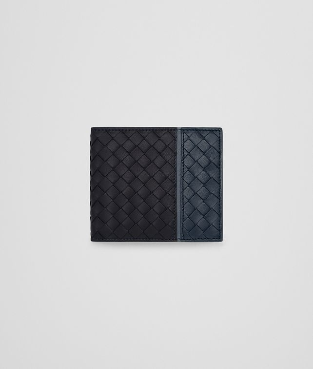 BOTTEGA VENETA BI-FOLD WALLET WITH COIN PURSE IN TOURMALINE DENIM KRIM INTRECCIATO NAPPA Bi-fold Wallet U fp
