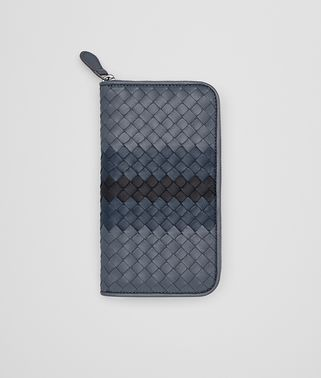 ZIP-AROUND WALLET IN KRIM DENIM TOURMALINE INTRECCIATO NAPPA CLUB