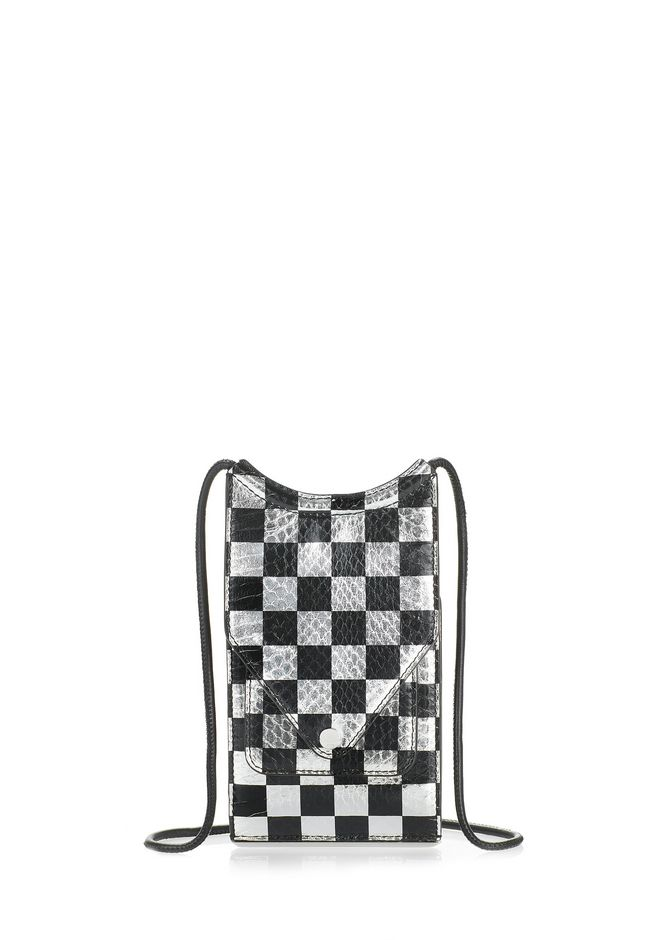 ALEXANDER WANG accessories DIME NECK WALLET IN CHECKERBOARD ELAPHE