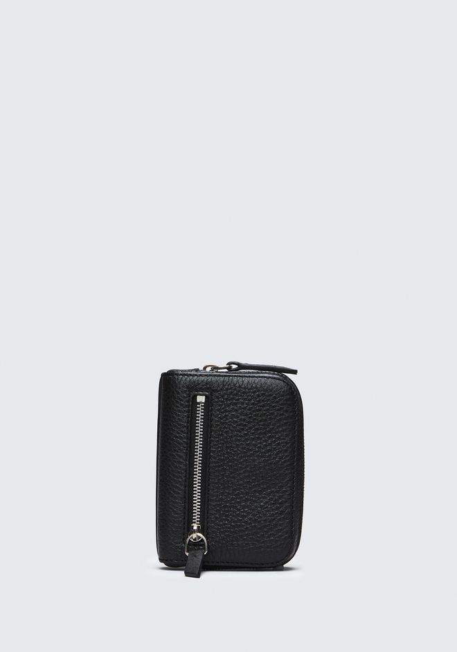 ALEXANDER WANG accessories FUMO MINI ZIP AROUND WALLET IN PEBBLED BLACK