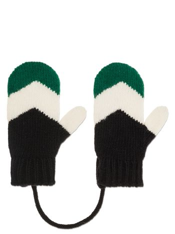 Marni GLOVES IN BLUE AND GREEN VIRGIN WOOL Woman
