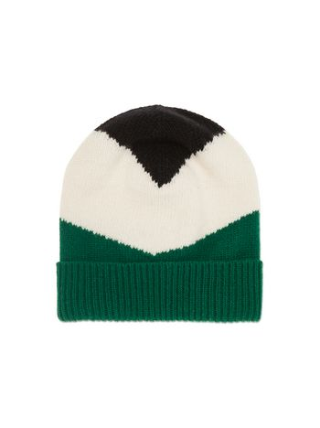 Marni CAP IN  BLUE AND GREEN VIRGIN WOOL Woman