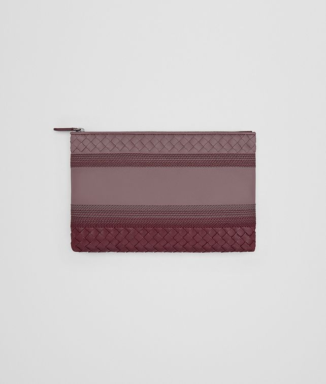 BOTTEGA VENETA MEDIUM DOCUMENT CASE IN GLICINE BAROLO EMBROIDERED NAPPA LEATHER, INTRECCIATO DETAILS Other Leather Accessory D fp